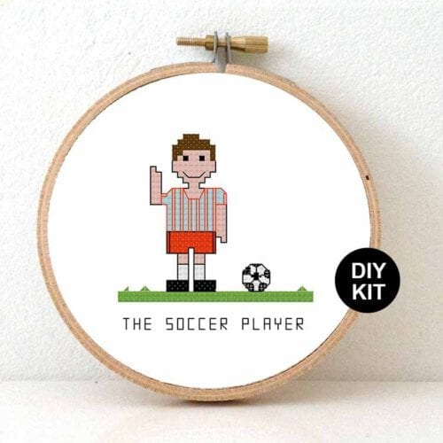 male soccer player cross stitch kit