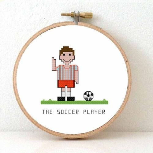 male soccer player cross stitch pattern