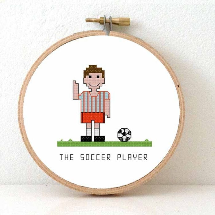 male soccer player cross stitch pattern