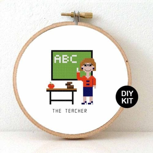 female teacher cross stitch kit