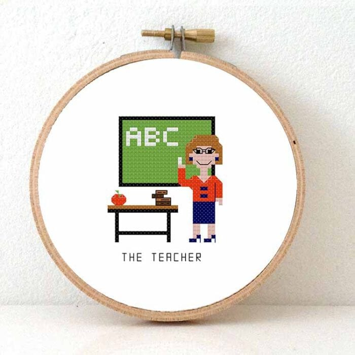 female teacher cross stitch pattern