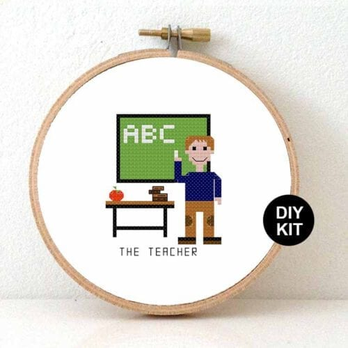 male teacher cross stitch kit