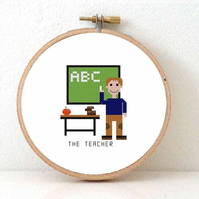 male teacher cross stitch pattern
