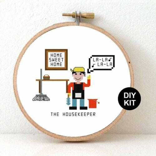 housekeper cross stitch kit gift for home cleaner or houseman