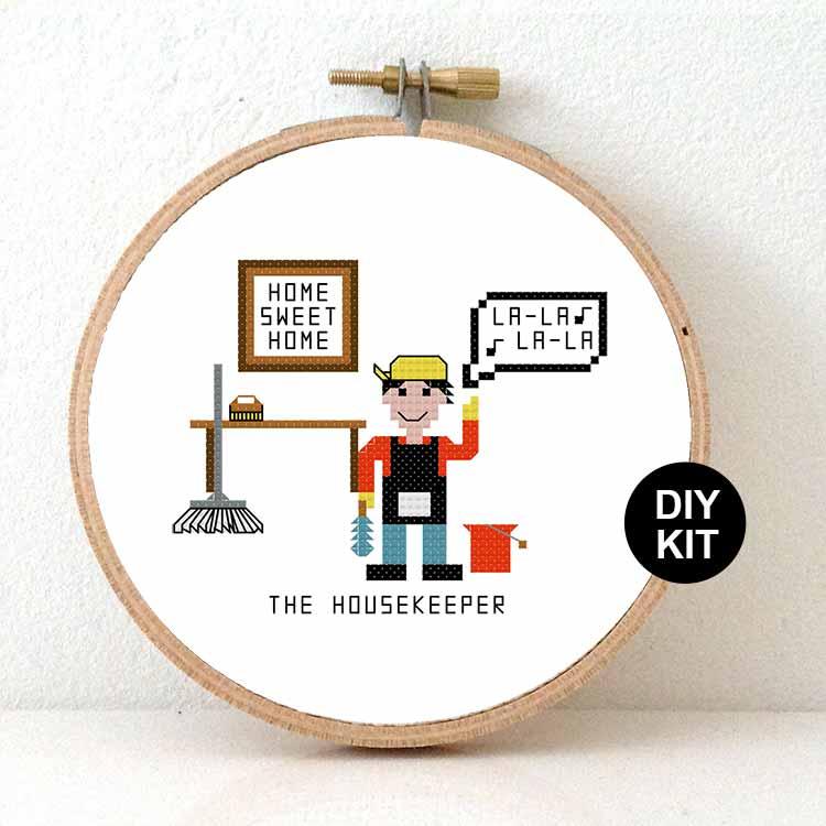 housekeper cross stitch kit gift for home cleaner or houseman