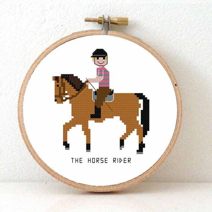 male horse rider cross stitch pattern