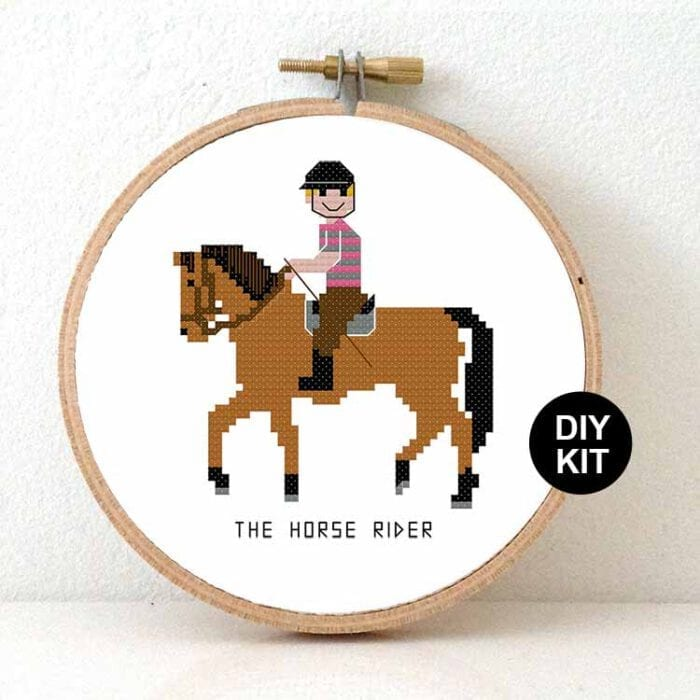 male horse rider cross stitch kit