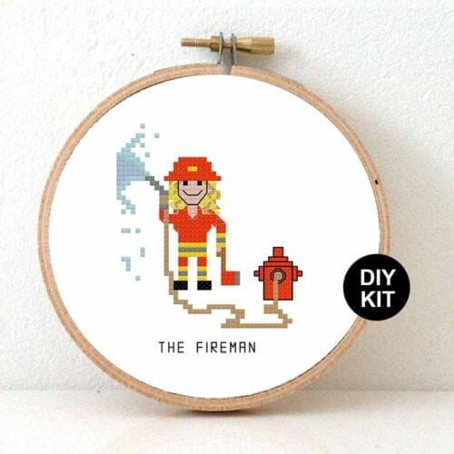 female firefighter gift idea cross stitch kit