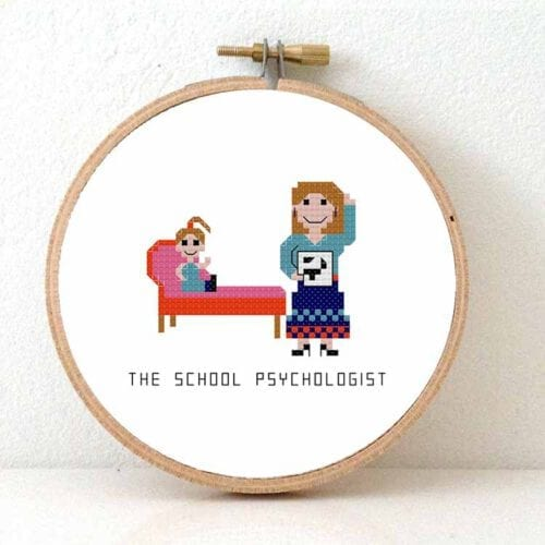 female school psychologist cross stitch pattern