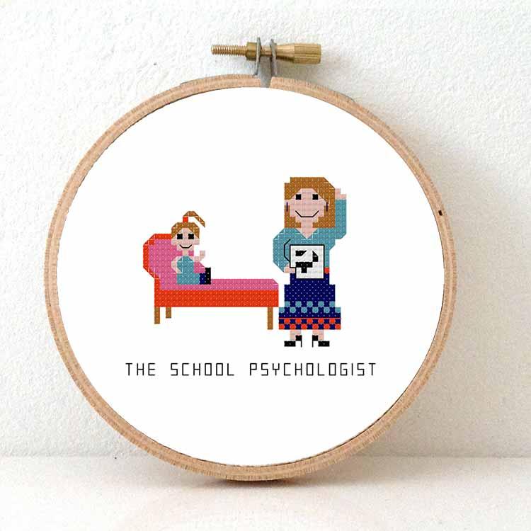 female school psychologist cross stitch pattern