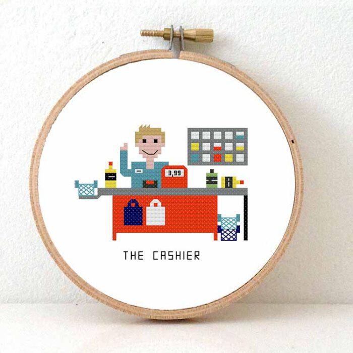 male cashier cross stitch pattern