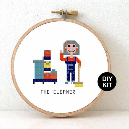 female cleaner cross stitch kit
