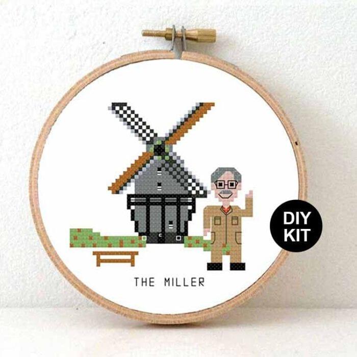 male miller cross stitch kit