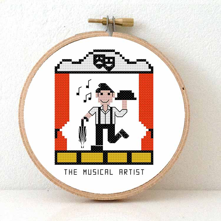 gift for musical artist cross stitch pattern