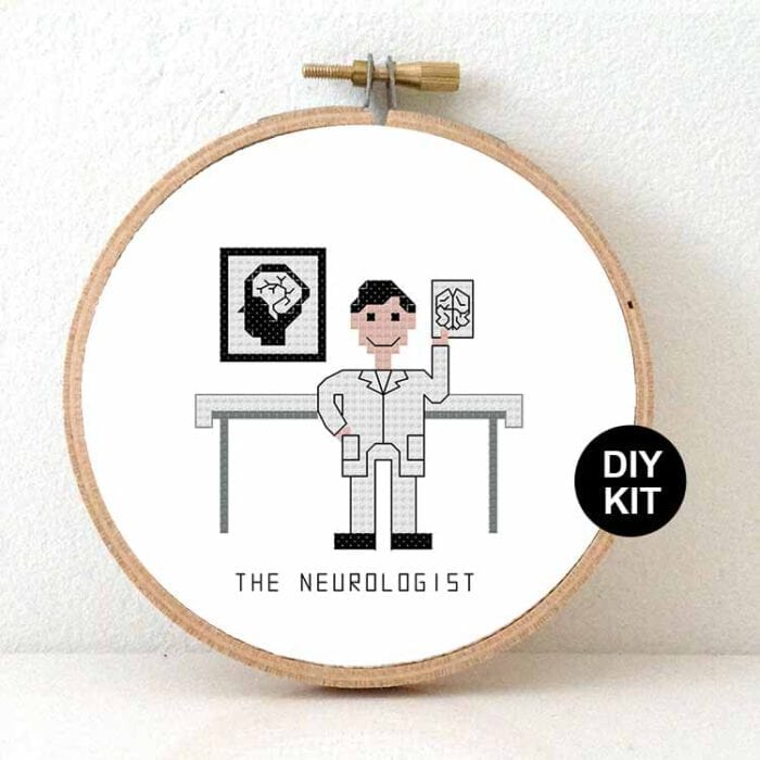male neurologist cross stitch kit