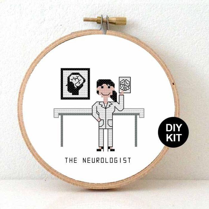 female neurologist cross stitch kit