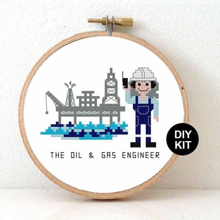 gift for female oil engineer cross stitch kit