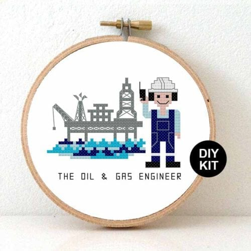 gift for male oil engineer cross stitch kit