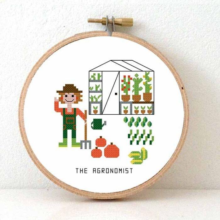 gift for gardener female agronomist cross stitch pattern