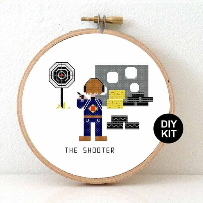 gift for shooter cross stitch kit