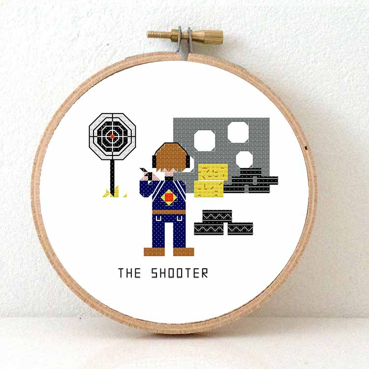 gift for shooter cross stitch pattern