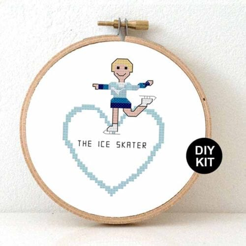 female ice skater cross stitch kit for beginners
