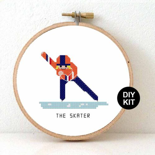 female skater cross stitch kit