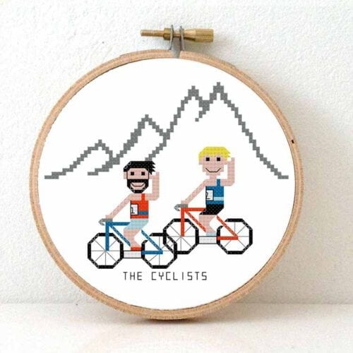 cyclist cross stitch pattern