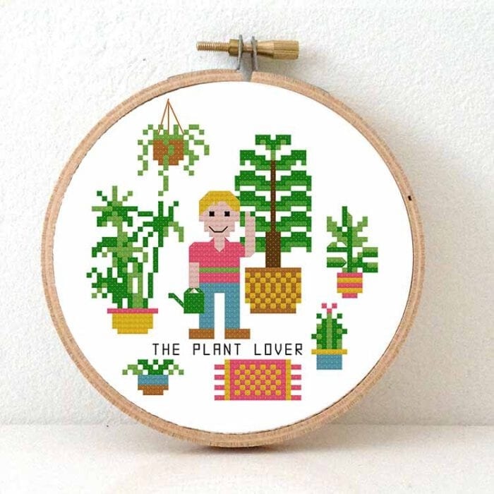 gift for male plant lover cross stitch pattern