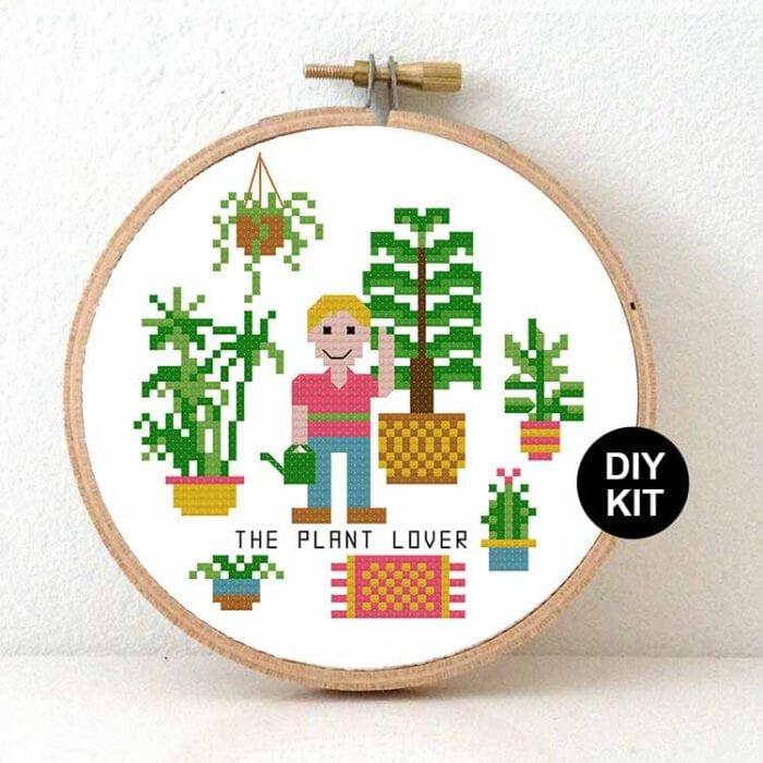 male plant lover cross stitch kit