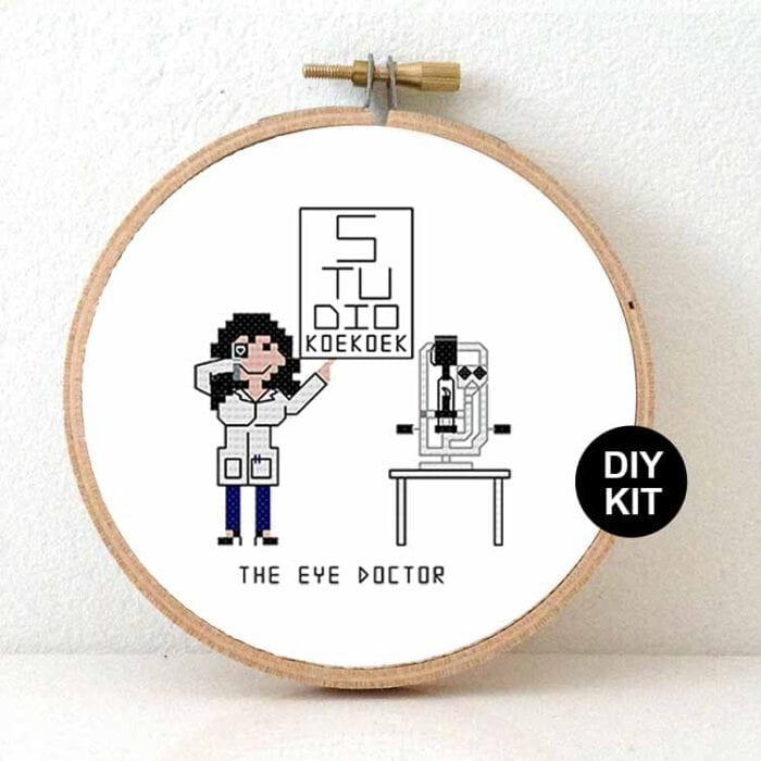 female eye doctor gift idea cross stitch kit
