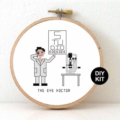 male eye doctor cross stitch kit