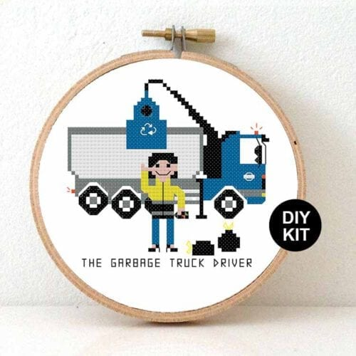 female garbage cross stitch kit