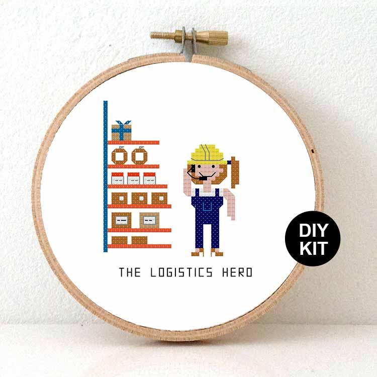 logistics hero cross stitch kit diy gift for distribution centre
