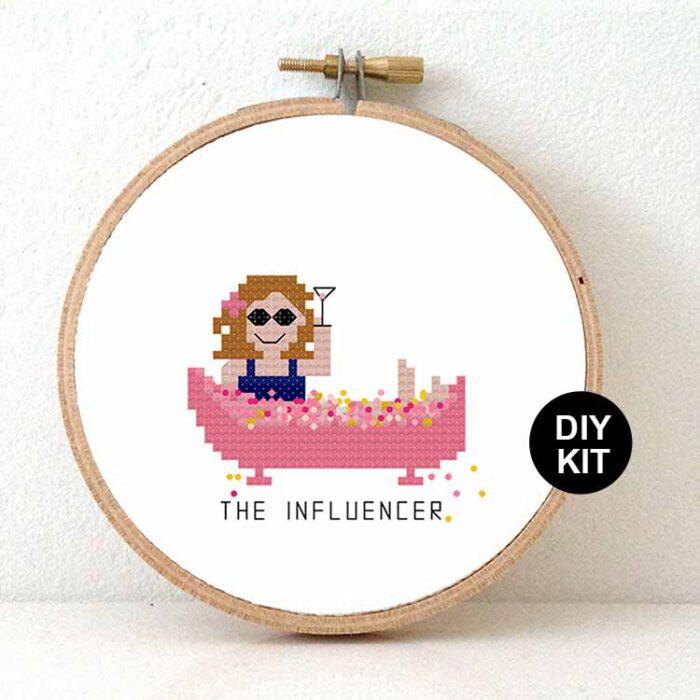 gift for female influencer cross stitch kit
