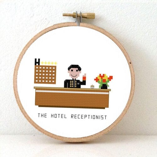 gift for hotel receptionist cross stitch pattern