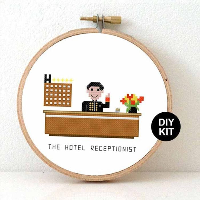 gift for hotel receptionist cross stitch kit