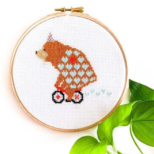 Bear on Bike cross stitch pattern