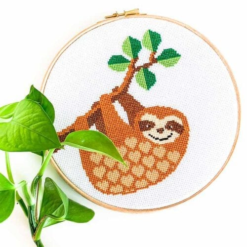 Sloth cross stitch kit