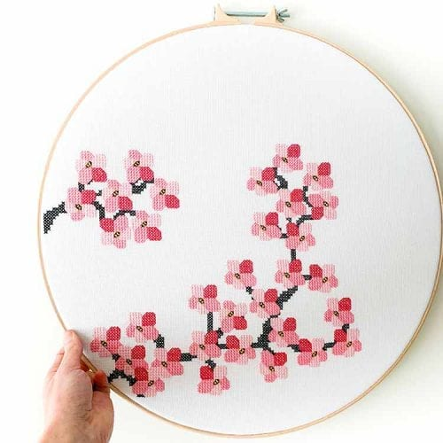 14615 Cherry blossom cross stitched
