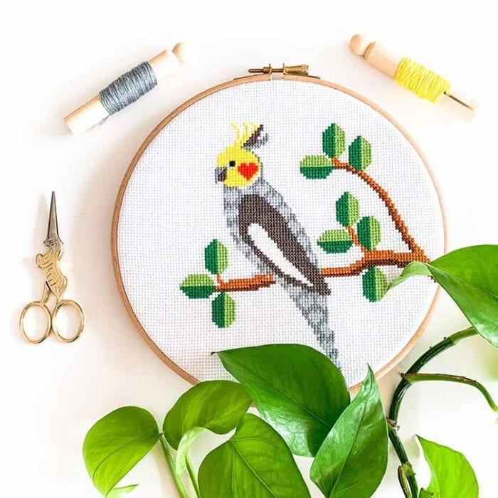 Cockatiel cross stitch kit