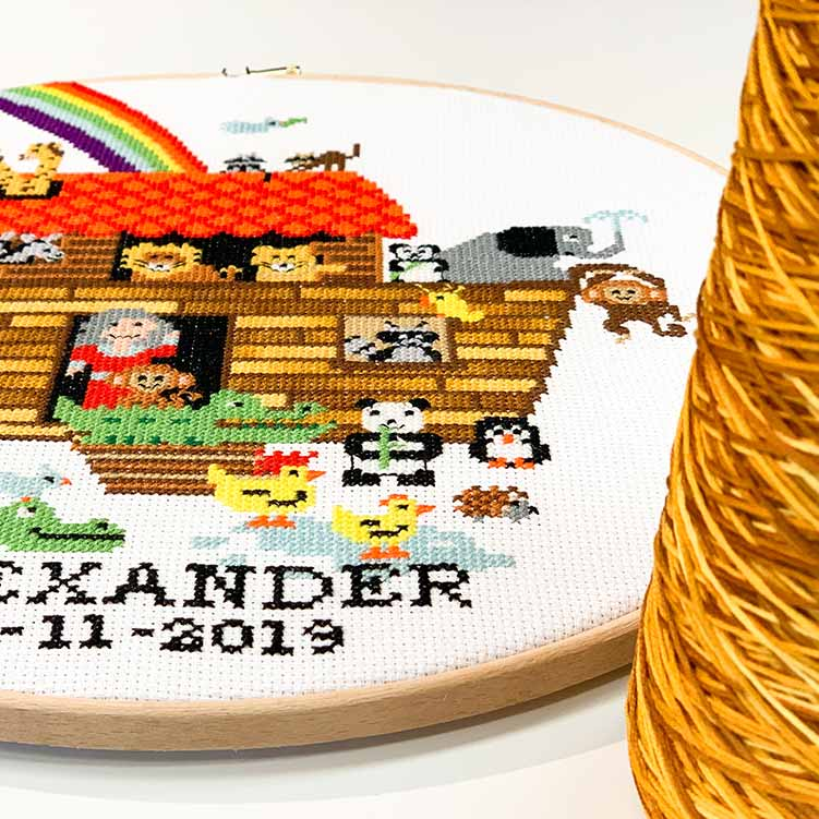 cross stitch kit with variegated embroidery floss
