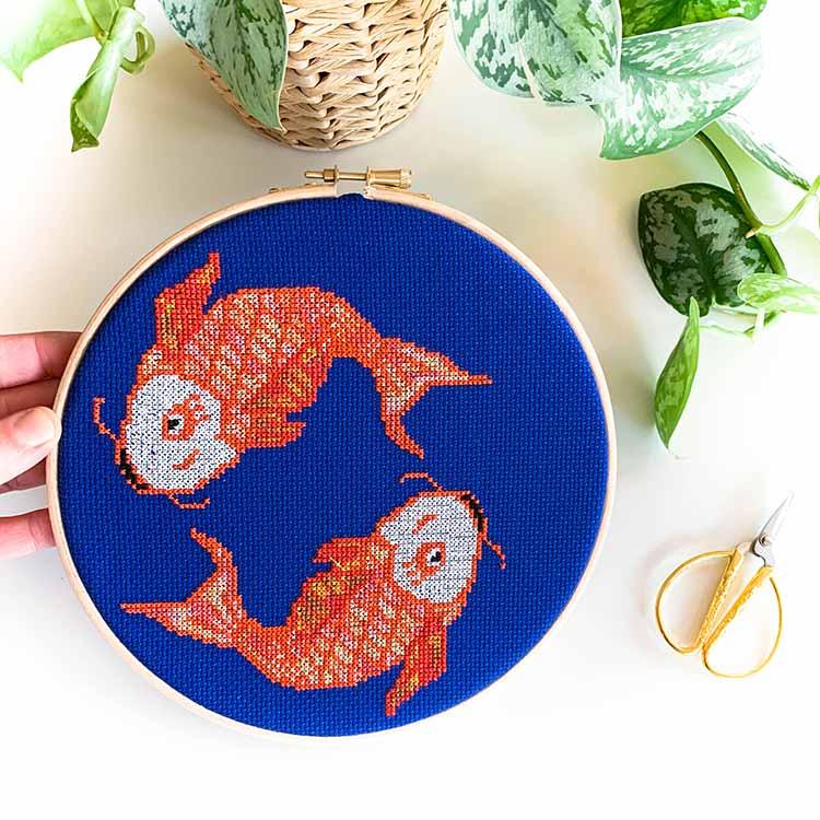 Koi fish cross stitch kit