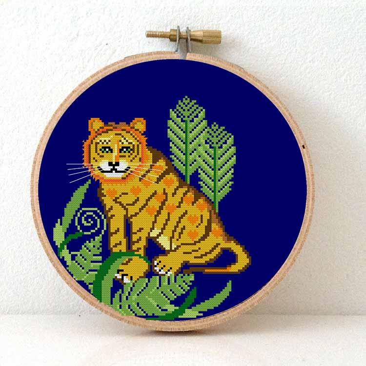 Tiger cross stitch kit
