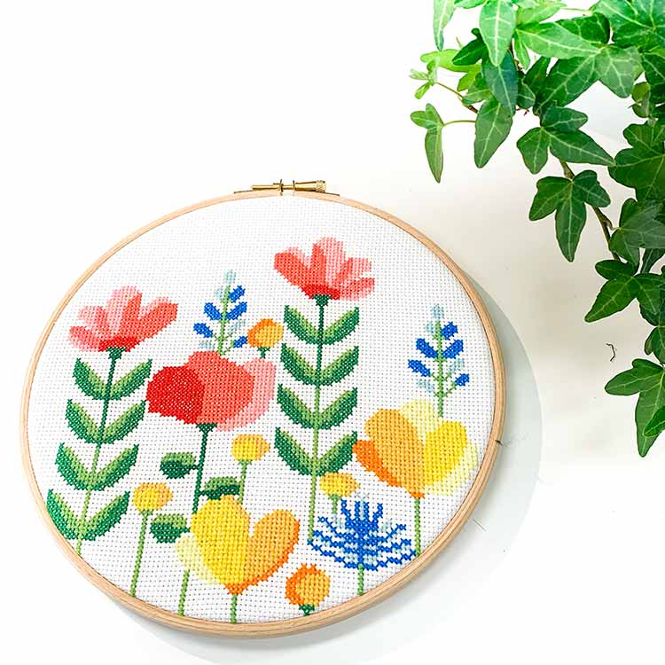 14624 spring flower hoop cross stitch kit