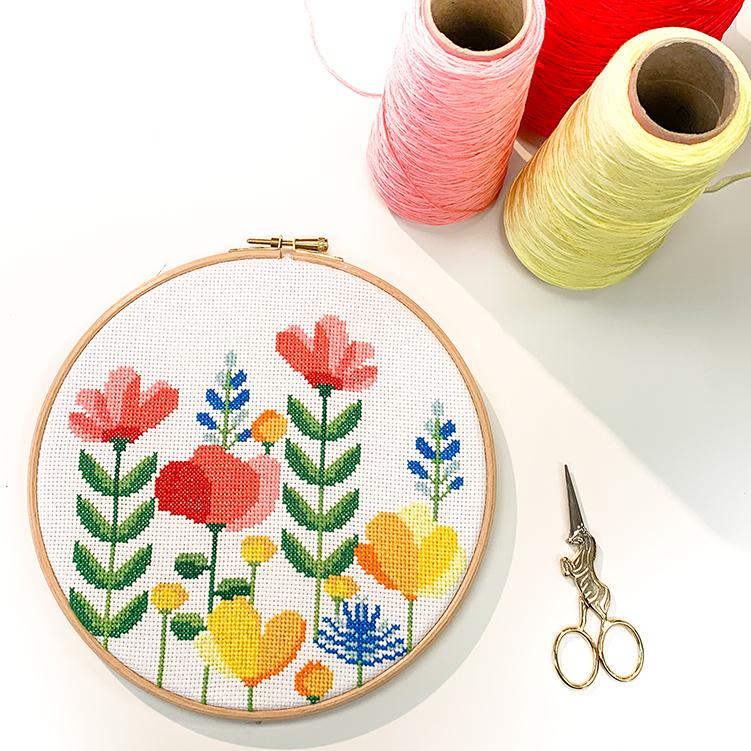 Flower hoop cross stitch design