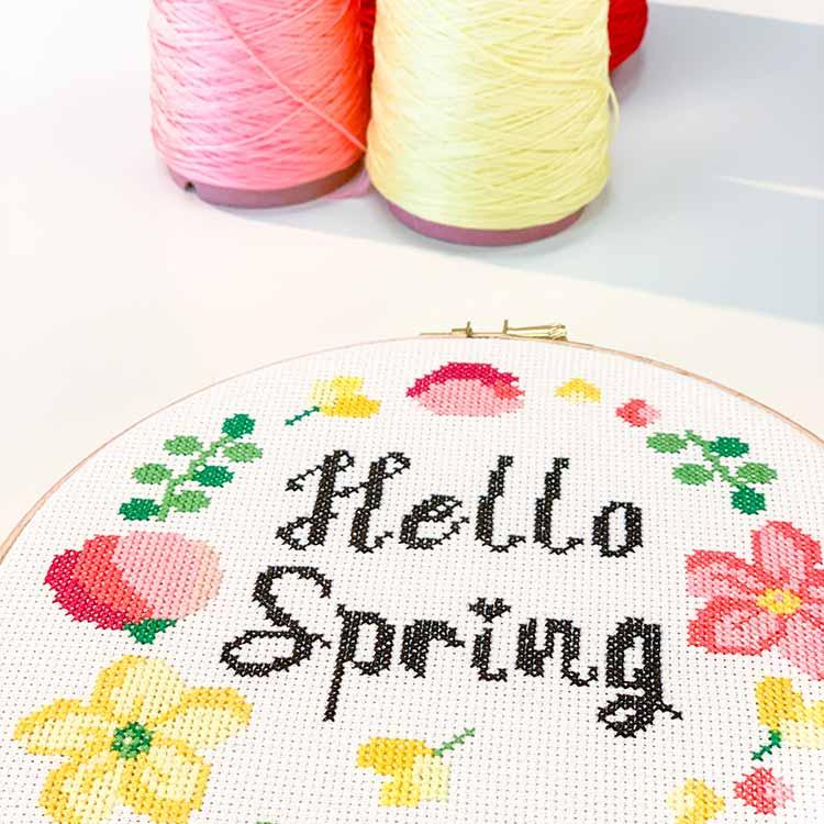 hello spring flower cross stitch kit