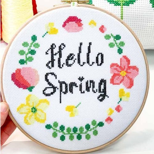 hello spring flower cross stitch kit