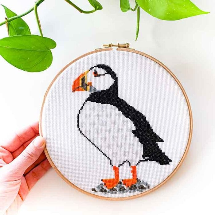 Puffin cross stitch kit for beginners