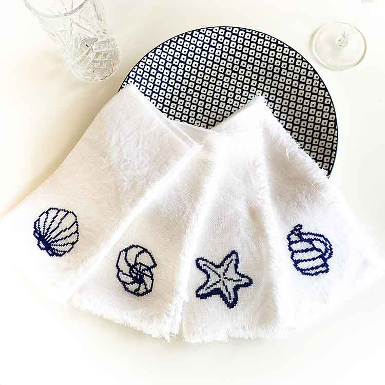 Ecological Linen Napkin Cross Stitch Kit Set of 4 nautical motifs
